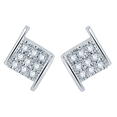 Pissara Stylish Rhodium plated Micro Pave Setting CZ Pendant Set-2