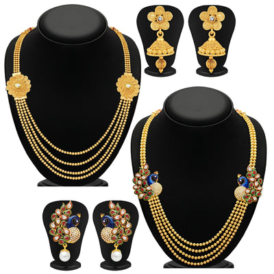 Sukkhi Beguiling 4 String Gold Plated Set of 2 Necklace Set Combo For Women