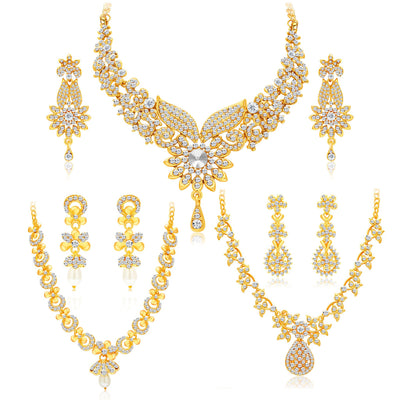 Sukkhi Intricately Gold Plated AD Set of 3 Necklace Set Combo For Women-1