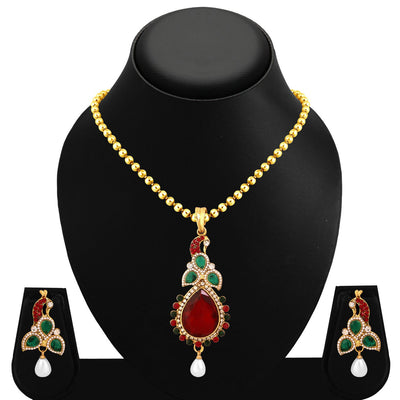 Sukkhi Gorgeous Peacock Gold Plated Pendant Set For Women-1