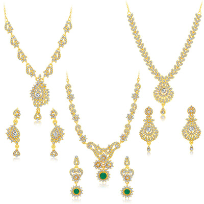 Sukkhi Creative Gold Plated AD Set of 3 Necklace Set Combo For Women