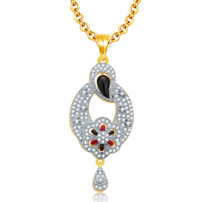 Pissara Alluring Gold And Rhodium Plated CZ Pendant Set For Women-1