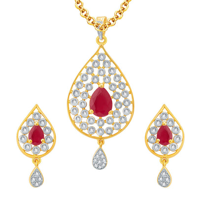 Pissara Magnificient Gold And Rhodium Plated Ruby CZ Pendant Set For Women
