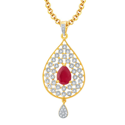 Pissara Magnificient Gold And Rhodium Plated Ruby CZ Pendant Set For Women-1