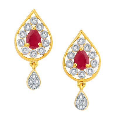 Pissara Magnificient Gold And Rhodium Plated Ruby CZ Pendant Set For Women-2