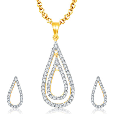 Pissara Opulent Gold And Rhodium Plated CZ Pendant Set For Women