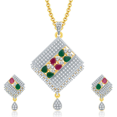 Pissara Grandiose Gold And Rhodium Plated Ruby CZ Pendant Set For Women