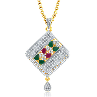 Pissara Grandiose Gold And Rhodium Plated Ruby CZ Pendant Set For Women-1
