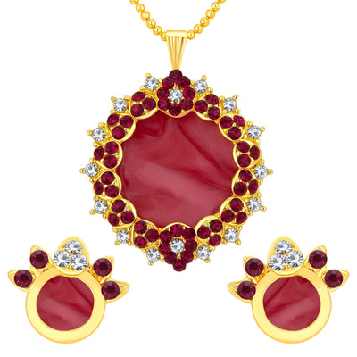 Sukkhi Alluring Gold Plated AD Pendant Set For Women