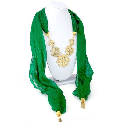 Sukkhi Gorgeous Chiffon Detachable Scarf Necklace With Chain For Women