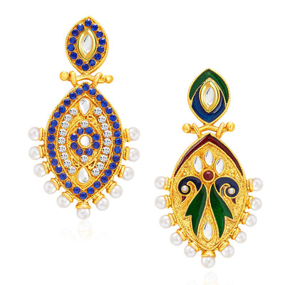 Sukkhi Elegant Peacock Gold Plated Kundan Reversible Earring For Women