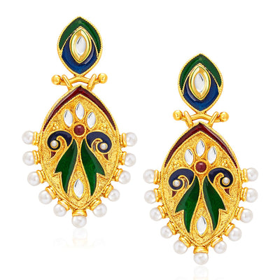 Sukkhi Elegant Peacock Gold Plated Kundan Reversible Earring For Women-2
