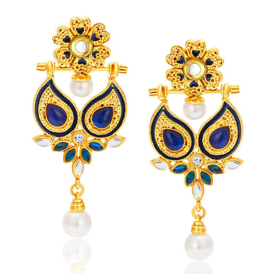Sukkhi Resplendent Gold Plated Reversible Earring For Women-2