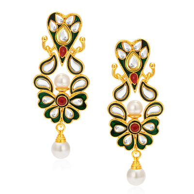 Sukkhi Graceful Gold Plated AD Reversible Earring For Women-1