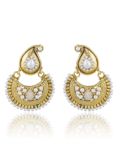 Sukkhi Creative Gold Plated Chandbali Earring For Women