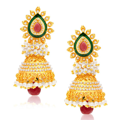 Sukkhi Gorgeous Jhumki Gold Plated Set of 2 Pair Earring Combo For Women-1