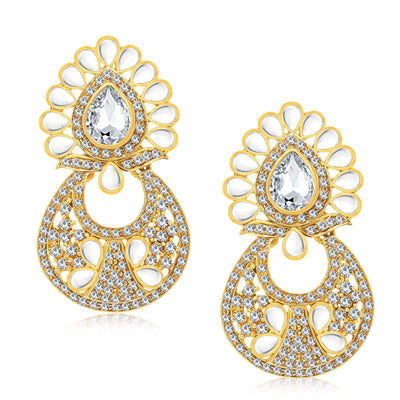 Sukkhi Dazzling Gold Plated AD Earring With Mangtikka Set For Women-1