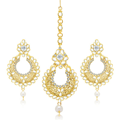Sukkhi Excellent Gold Plated AD Earring With Mangtikka Set For Women