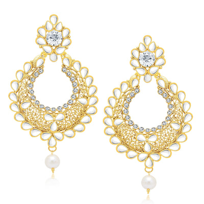 Sukkhi Excellent Gold Plated AD Earring With Mangtikka Set For Women-1