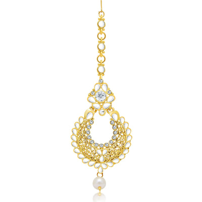 Sukkhi Excellent Gold Plated AD Earring With Mangtikka Set For Women-2
