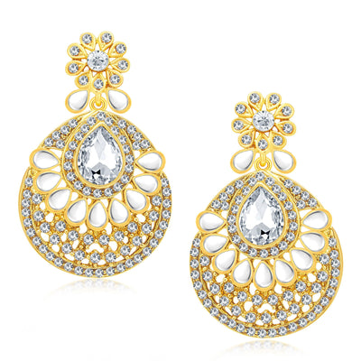 Sukkhi Gorgeous Gold Plated AD Earring With Mangtikka Set For Women-1