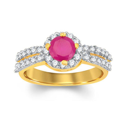 Sukkhi Luxurious Gold and Rhodium Plated CZ and Ruby Studded Ring-1