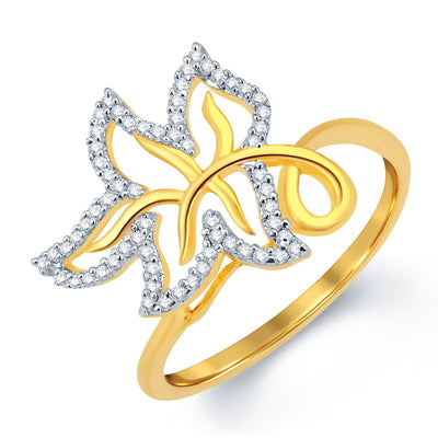 Sukkhi Leafy Gold and Rhodium Plated CZ Ring