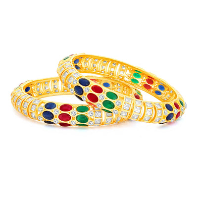 Sukkhi Gleaming Gold Plated Bangle Set For Women (Set of 2)