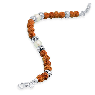 Sukkhi Classic Rudraksha Rhodium Plated Bracelet For Men-1