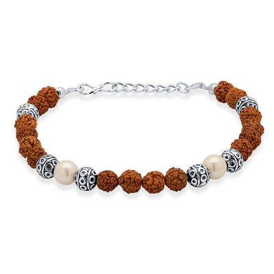 Sukkhi Classic Rudraksha Rhodium Plated Bracelet For Men