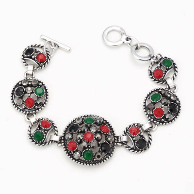 Sukkhi Traditional Oxidised Silver Bracelet With Multi Colored Stones For Women
