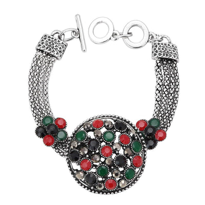 Sukkhi Pretty Oxidised Silver Bracelet With Multi Colored Stones For Women