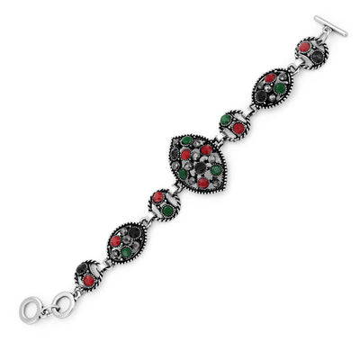 Sukkhi Eye-catching Oxidised Silver Bracelet With Multi Colored Stones For Women