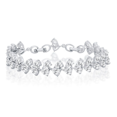 Sukkhi Dazzling Rhodium plated Pear shaped charm bracelet for women