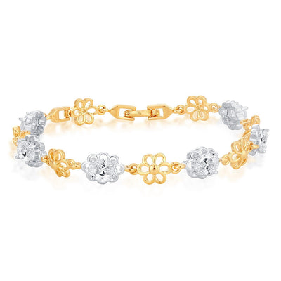 Sukkhi Stylish Gold Plated Floral Bracelet for Men