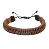 Sukkhi Adjustable Striped Brown Leather Bracelet For Men