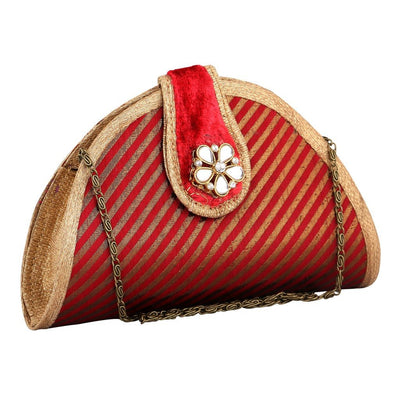 Sukkhi Red and Gold Unique Clutch Handbag