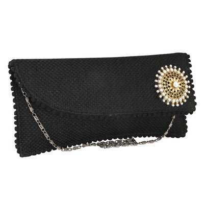 Sukkhi Elegant Black and Gold Clutch Handbag