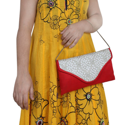 Sukkhi Glamorous Red & White Clutch Handbag-3