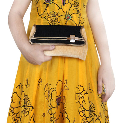 Sukkhi Classy Black, Gold and Cream Clutch Handbag-3