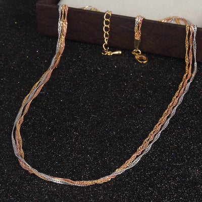 Sukkhi Elegant Gold Plated 3 String Unisex chain