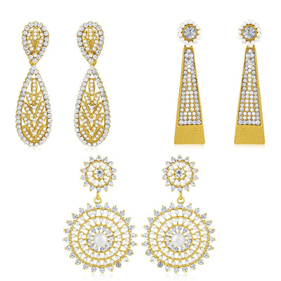 Sukkhi Finely Pearl Gold Plated Set of 3 Pair Dangle Earring Combo For Women