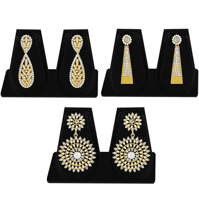 Sukkhi Finely Pearl Gold Plated Set of 3 Pair Dangle Earring Combo For Women-1