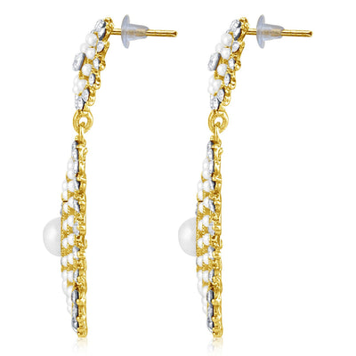 Sukkhi Finely Pearl Gold Plated Set of 3 Pair Dangle Earring Combo For Women-4