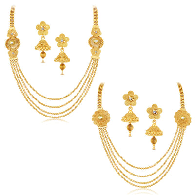 Sukkhi Dazzling Jalebi 4 String Gold Plated Set of 2 Necklace Set Combo For Women-1