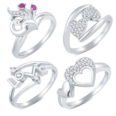 Sukkhi Valentine Collection Stylish Rhodium Plated CZ Combo Ring For Women Pack Of 4