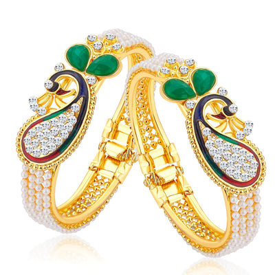 Sukkhi Ritzy Peacock Gold Plated AD Combo Kada For Women Pack Of 2