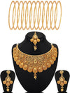Sukkhi Classic Gold Plated Necklace Set Bangle Jewelery combo (Set of )