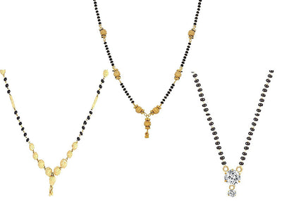 Sukkhi Sparkling Gold Plated Cz Solitaire Mangalsutra Combo For Women Pack Of 3