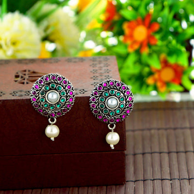 Sukkhi Charming Oxidised Pearl Earring Combo For Women